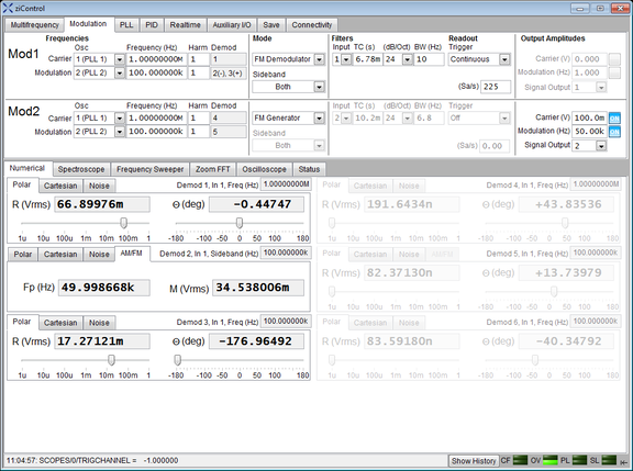 Screenshot of the Numerical Tab in ziControl for the HF2LI Lock-in Amplifier